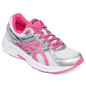 ASICS gel contend 3 pink, white and silver running